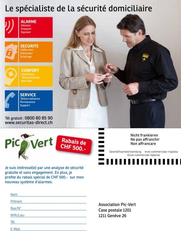 Bulletin d'inscription à l'offre Sécuritas Direct : profitez d'un rabais de 390 CHF.- sur votre système d'alarme