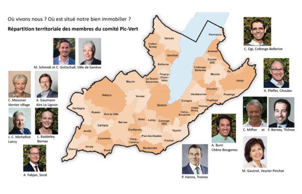 répartition territoriale des membres du comité Pic-Vert